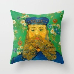 Throw Pillow   Vincent Van Gogh - Portrait Of Postman by Elegant Chaos Gallery - Cover (16