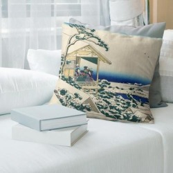 Porch & Den Katsushika Hokusai 'Tea House at Koishikawa' Throw Pillow (26 x 26 - Green & Blue Ombre - Faux Suede) found on Bargain Bro from Overstock for USD $72.19