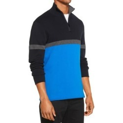 DKNY Men's Sweater Blue Size 2XL Colorblock Quarter-Zip Pullover (2XL)(cotton) found on Bargain Bro from Overstock for USD $28.10