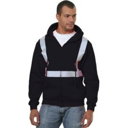 Bayside BA3790 80/20 Heavyweight Hi-Visibility Solid Striping Full-Zip Hooded Sweatshirt in Black size Medium 3790 found on Bargain Bro Philippines from ShirtSpace for $82.84