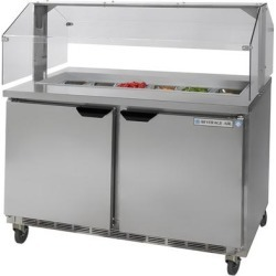 """Beverage Air SPE48-12-SNZ 48"""" 2 Door Condiment Station Refrigerated Sandwich Prep Table with Sneeze Guard"""