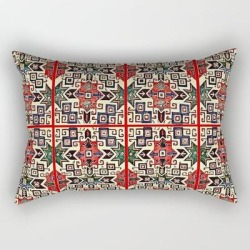"Armenian Folk Art Rectangular Pillow by Donia In Art - Small (17"" x 12"")"