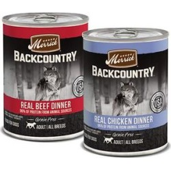 Merrick Backcountry Grain-Free Real Beef & Chicken Dinner Variety Pack Wet Dog Food, 12.7-oz can, case of 12