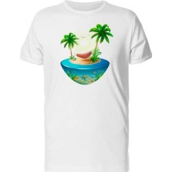 Hammock On 3D Island Art Tee Men's -Image by Shutterstock (S), White found on Bargain Bro from Overstock for USD $10.63