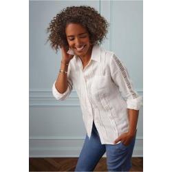 Women Bettina Shirt by Soft Surroundings, in White size 1X (18-20)