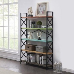 17 Stories Solid Wood 5-Tier Metal Etagere Bookcase Freestanding Bookshelf For Home & Office in Black/Yellow, Size 70.0 H x 47.0 W x 11.0 D in found on Bargain Bro Philippines from Wayfair for $329.99