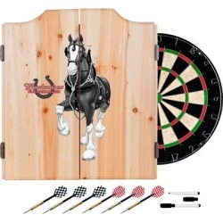 Trademark Global Budweiser Clydesdale Dartboard & Cabinet Set in Black/Brown/Gray, Size 24.75 H x 20.5 W x 3.5 D in   Wayfair AB7010-CLY-B found on Bargain Bro Philippines from Wayfair for $130.06