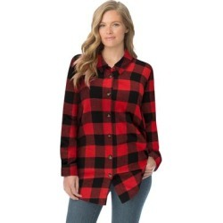 Plus Size Women's Classic Flannel Shirt by Woman Within in Vivid Red Buffalo Plaid (Size 1X) found on Bargain Bro Philippines from fullbeauty for $39.99