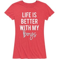Instant Message Women's Women's Tee Shirts HEATHER - Heather Red 'Life Better with My Boys' Relaxed-Fit Tee - Women & Plus