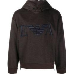 Embroidered Logo Hoodie - Brown - Emporio Armani Sweats