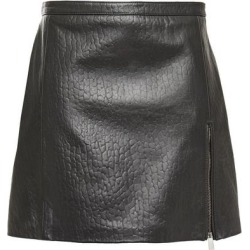 Zip-detailed Croc-effect Leather Mini Skirt Dark Gray - Gray - Muubaa Skirts found on MODAPINS from lyst.com for USD $180.00