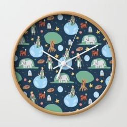 Wall Clock   The Little Prince by Sara Maese - Natural - White - Society6 found on Bargain Bro from Society6 for USD $17.02