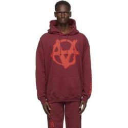 Burgundy Anarchy Gothic Logo Hoodie - Red - Vetements Sweats