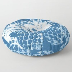 Pineapple Blues Floor Pillow by Gale Switzer - ROUND - 30