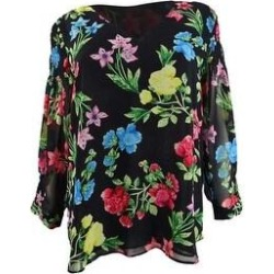 Calvin Klein Women's Floral-Print Blouse (M, Black/Watermelon) (Black/Watermelon)(polyester) found on Bargain Bro Philippines from Overstock for $49.99