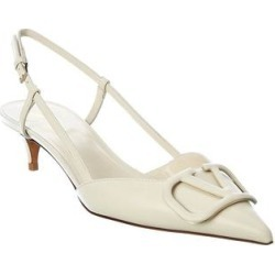 Valentino Vlogo 40 Leather Slingback Pump (36), Women's, White found on Bargain Bro Philippines from Overstock for $802.99