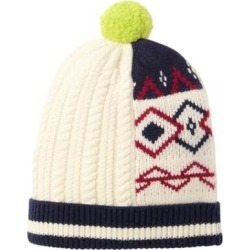 Pom-pom Wool Cashmere Patchwork Beanie - White - Burberry Hats found on Bargain Bro from lyst.com for USD $74.48