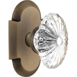 Nostalgic Warehouse Crystal Fluted Oval Passage Door Knob w/ Cottage PlateGlass in Yellow, Size 4.0 H x 2.5 W in   Wayfair 712841 found on Bargain Bro Philippines from Wayfair for $112.77