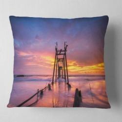 Designart 'Broken Wooden Bridge at Sunset' Pier Seascape Throw Pillow found on Bargain Bro from Overstock for USD $26.59