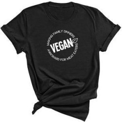 Vegan, Making Family Dinners Awkward for Meat Eaters - Funny T-Shirt (L - Black), Adult Unisex