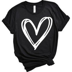 Party On! Women's Tee Shirts Black - Black Scribble Heart Boyfriend Tee - Women found on Bargain Bro India from zulily.com for $23.99