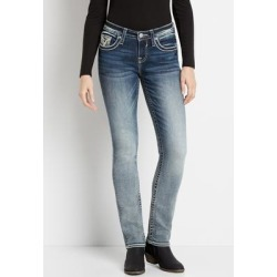 Vigoss® Womens Medium Wash Destructed Pocket Straight Leg Jeans Blue - Size 2 - Maurices found on Bargain Bro from Maurices for USD $37.98