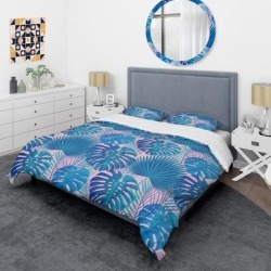 Designart 'Retro Floral Pattern X' Mid-Century Duvet Cover Set (Twin Cover + 1 sham (comforter not included)), Blue, DESIGN ART found on Bargain Bro India from Overstock for $101.99