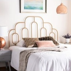 Safavieh Paloma Metal Retro Headboard (Gold - Goldtone Finish - Full) found on Bargain Bro Philippines from Overstock for $181.45