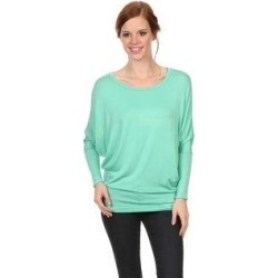 plus Women's Casual Dolman Sleeve Loose Fit Top (Mint - 2X-Large), Blue, MOA Collection(rayon, check) found on Bargain Bro India from Overstock for $16.10