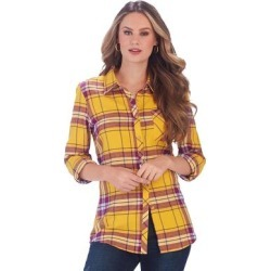 Favorite Flannel Plaid Shirt (Size 4X) Amber-Amethyst, Cotton found on Bargain Bro Philippines from ShoeMall.com for $29.95