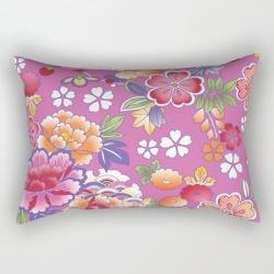 Rectangular Pillow | Japanese Vintage Colorful Floral Kimono Pattern by Vicky Brago-mitchella(r) - Small (17