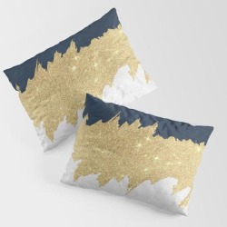 Pillow Sham | Navy Blue White Lace Gold Glitter Brushstrokes by Pink Water - STANDARD SET OF 2 - Cotton - Society6 found on Bargain Bro from Society6 for USD $30.39