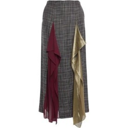 Julius Draped Chiffon And Lamé-paneled Checked Bamboo Midi Skirt - Gray - Roland Mouret Skirts found on MODAPINS from lyst.com for USD $478.00