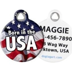 Dog Tag Art Born in the USA Personalized Dog & Cat ID Tag, Large