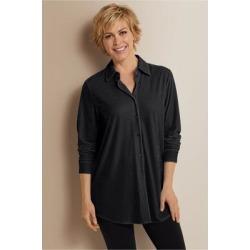 Women's Petites Velvet Boyfriend Shirt by Soft Surroundings, in Black size PXS (2-4)