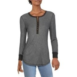 Splendid Womens Top Contrast Trim Long Sleeve - Grey (Grey - M), Women's, Gray(polyester) found on Bargain Bro from Overstock for USD $35.79
