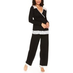 Lamaze Maternity Intimates Women's Sleep Bottoms BLK - Black Lace-Accent Nursing Pajama Set found on Bargain Bro India from zulily.com for $21.99