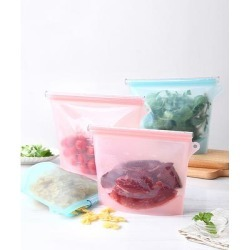 Kate Rui Food Storage Containers Multi-Color - Pink & Blue Reusable Silicone Food Storage Bags - Set of 4 found on Bargain Bro from zulily.com for USD $15.19