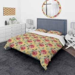 Designart 'Red Rose in Yellow Background' Traditional Bedding Set - Duvet Cover & Shams (Twin Cover + 1 sham (comforter not included)), DESIGN ART found on Bargain Bro from Overstock for USD $81.69