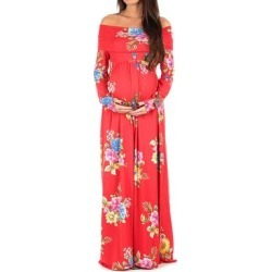 Mother Bee Maternity Women's Maxi Dresses RedX6 - Red Floral Maternity Off-Shoulder Maxi Dress found on Bargain Bro Philippines from zulily.com for $19.99