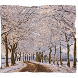 Designart 'Trees And Road in White Winter' Landscape Fleece Throw Blanket found on Bargain Bro from Overstock for USD $51.35