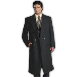 Men's 6 Button Charcoal Grey Fully Lined Long Coat By Alberto Nardoni Brand Designer (38 R), Gray(polyester) found on MODAPINS from Overstock for USD $170.00