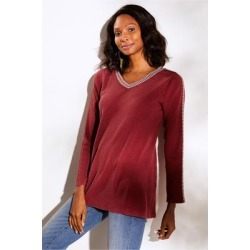 Women's Inkwell Pullover Top by Soft Surroundings, in Sun-Dried Tomato size XS (2-4)