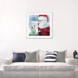 East Urban Home Santa Tree Star by Bluebird Barn - Graphic Art Print Paper in Blue/Brown/Green, Size 24.0 H x 24.0 W x 1.0 D in   Wayfair found on Bargain Bro Philippines from Wayfair for $136.99