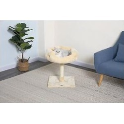 Go Pet Club 24-in Faux Fur Cat Tree, Beige found on Bargain Bro from Chewy.com for USD $14.59