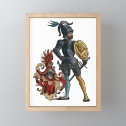 """Medieval Knights In Shining Armor Framed Mini Art Print by Antique Images - Light Wood - 3"""" x 4"""""""