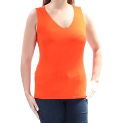 INC Womens Orange Sleeveless V Neck Top Size M (Orange - M), Women's(Fabric, Solid) found on Bargain Bro India from Overstock for $9.43
