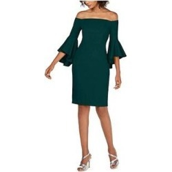 Calvin Klein Women's One Shoulder Solid Sheath Dress, Green, 16 (Green - 16) found on Bargain Bro from Overstock for USD $56.99