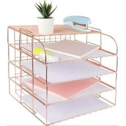Inbox Zero 4 Tier Desk Organizers & Accessories, Stackable Paper Tray Organizer Desk File Organizer Metal in Pink, Size 12.2 H x 13.8 W x 9.8 D in found on Bargain Bro Philippines from Wayfair for $91.99