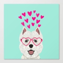 Canvas Print | Westie West Highland Terrier White Valentines Day Dog Lover Pet Valentine by Petfriendly - LARGE - Society6 found on Bargain Bro Philippines from Society6 for $133.69
